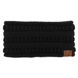 Solid cable knit C.C headwrap in BLACK